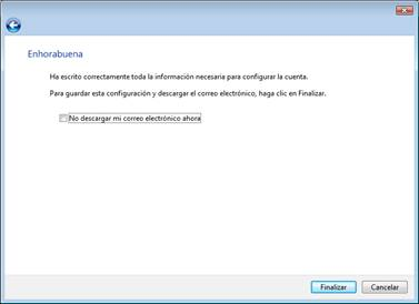 Pulse en finalizar. Su windows mail esta configurado.